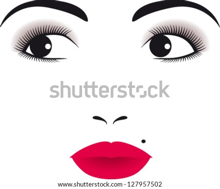 Face of woman with small mole - stock vector
