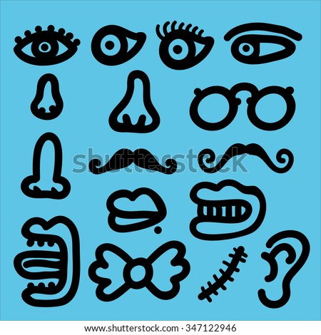 Face parts - stock vector