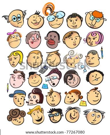 face people cartoon - stock vector
