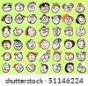 Face people doodle, cartoon avatar persons - stock photo