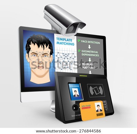 Face recognition - biometric security system with proximity reader - stock vector