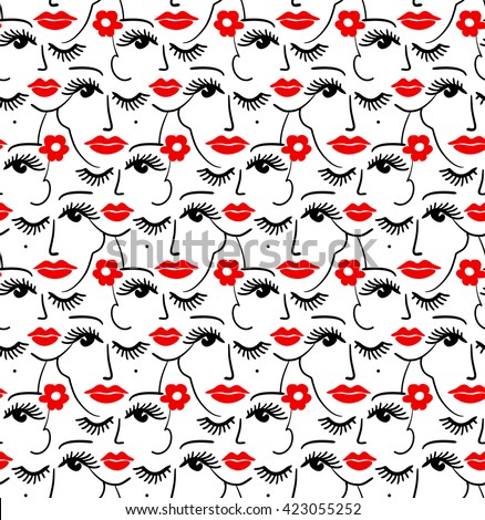 Face silhouette seamless pattern. Stylish trend design for surface - stock vector