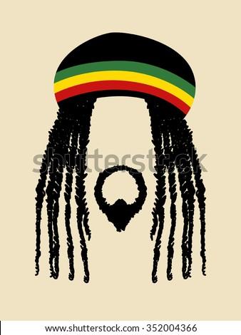 Face symbol of a man with dreadlocks hairstyle. Rasta, rastafarian, jamaica, reggae theme - stock vector