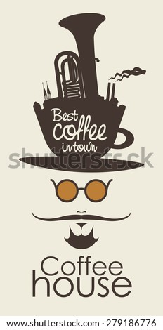 face the mustachioed man with a cup of coffee instead of a hat - stock vector