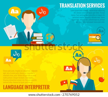 Face to face synchronic translation services and international court legal interpreting flat banners set abstract vector illustration - stock vector