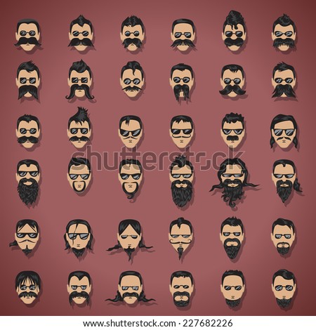 Face With Mustache And Beard Set - Isolated On Purple Background - Vector Illustration, Graphic Design Editable For Your Design - stock vector