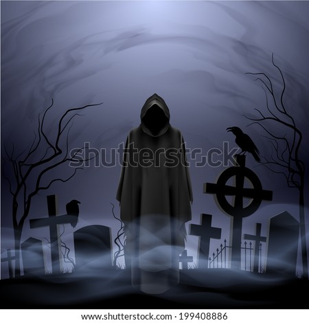 Faceless angel of death in loose overall among graves in the cemetery. - stock vector