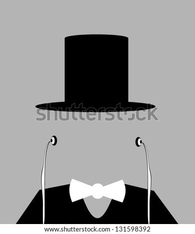 faceless man with top hat and earphones