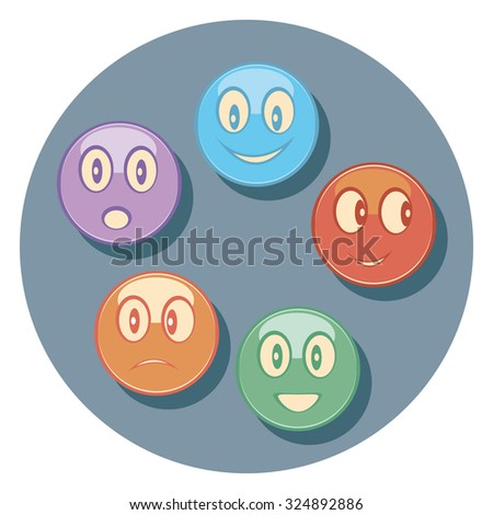 faces flat icon in circle - stock vector