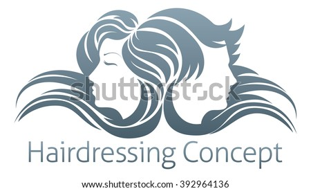 Faces of a handsome man and beautiful woman with flowing hair - stock vector