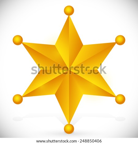 Faceted, beveled 6 pointed star with glow effect and orbs at edges. golden or bronze in color. - stock vector