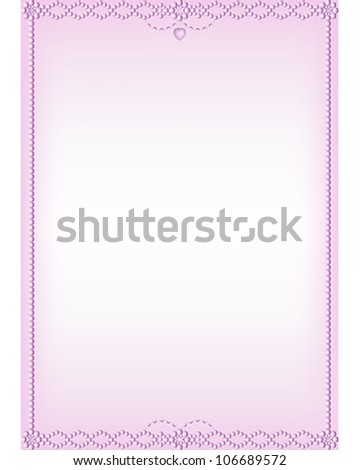Faceted Pink Bead Border vector.   Pink bead vector illustration with rose, heart and gem decorations - stock vector