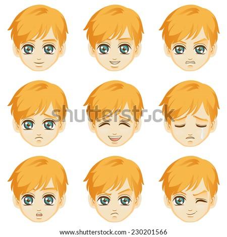 Facial expression of boy (Caucasian Descent) - stock vector