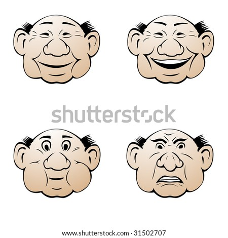 Facial expressions: neutral, smile, laugh, anger. - stock vector