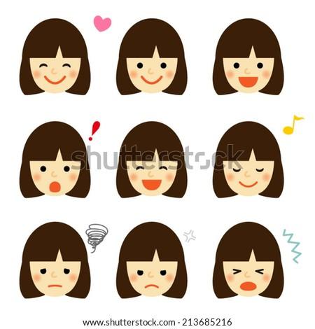 Facial expressions of asian girl / Vector EPS 10 illustration - stock vector