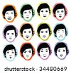 facial expressions set in vector - stock vector