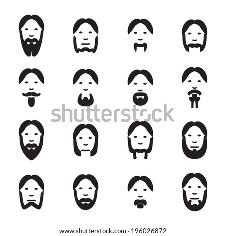 Facial hair icons set - stock vector