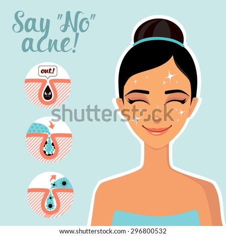 Facial Treatments. Infographics facials. Say no to acne! - stock vector