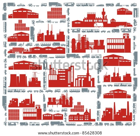 Factories, streets and various vehicles - an industrial city color vector cartoon illustration set - stock vector
