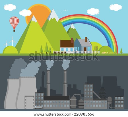 Factory and nature. Vector illustration - stock vector