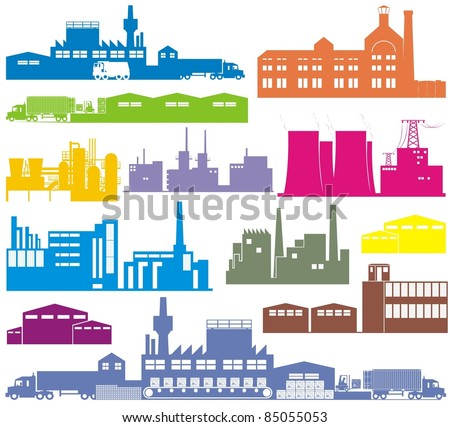 Factory, brewery, power plant/station, warehouse, refinery, chemical production plant - Manufacturing establishments color vector illustration set - stock vector