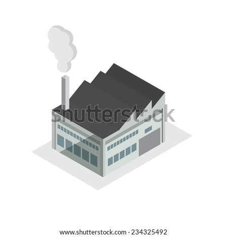 factory building small model design isometric view - stock vector