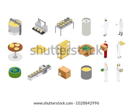 Factory Cheese Production Line Element Set and Staff Isometric View Technology Service Process of Cooking Dairy Product. Vector illustration of Prepare Cheese