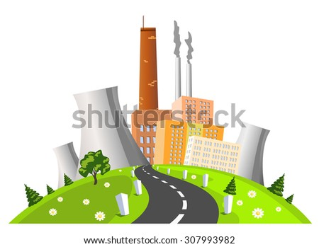 Factory, electrical generating plant, vector illustration - stock vector