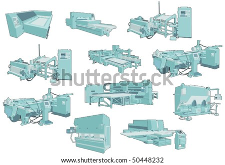 Factory heavy industrial machines - stock vector