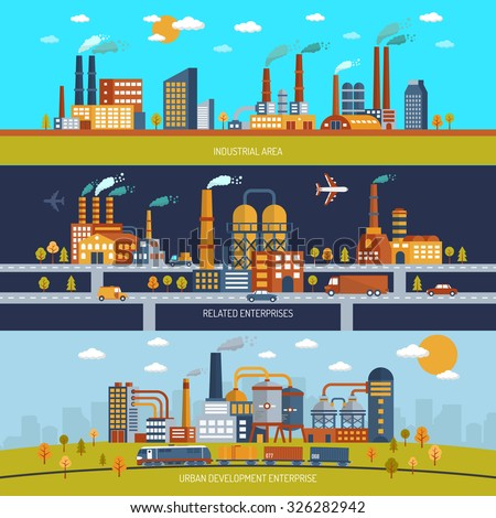 Factory horizontal banner set with industrial area buildings flat isolated vector illustration - stock vector