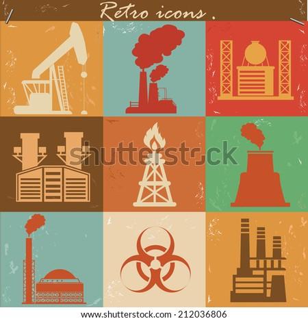Factory icons,retro vector - stock vector