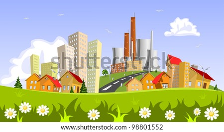 Factory in the city. Abstract concepts - stock vector