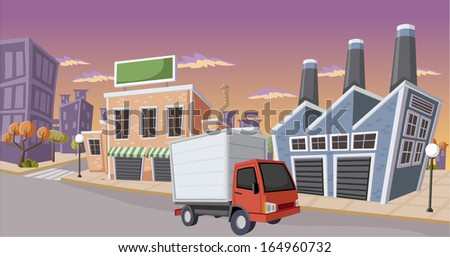 Factory in the city with small truck parked on the street - stock vector