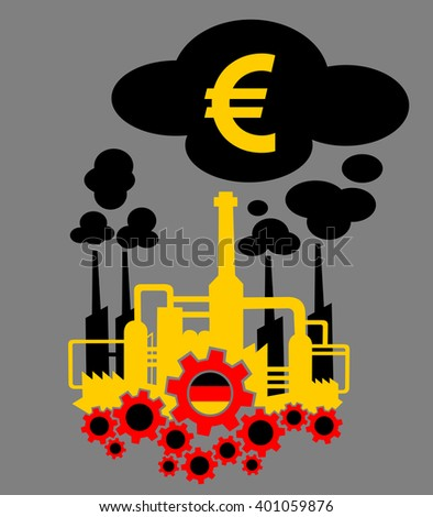 Factory in the colors of flag of Germany as metaphor of German industry and its financial profit or crisis expressed as income of euro  - stock vector
