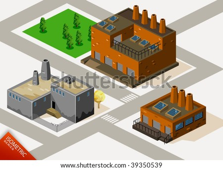 Factory Isometric. Isometric Series. Compose Your Own World Easily with Isometric Works. - stock vector