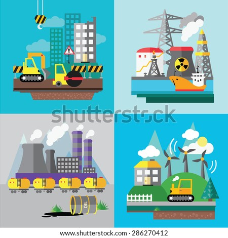 Factory landscape, Ecology Concept - industry factory. Ecology Concept Vector Icons Set for Environment, Flat style vector illustration. - stock vector