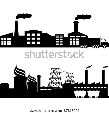 Factory, nuclear plant and power lines - stock vector