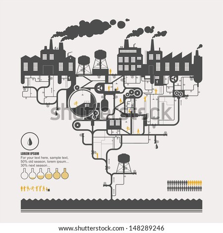 Factory on oil refining - stock vector