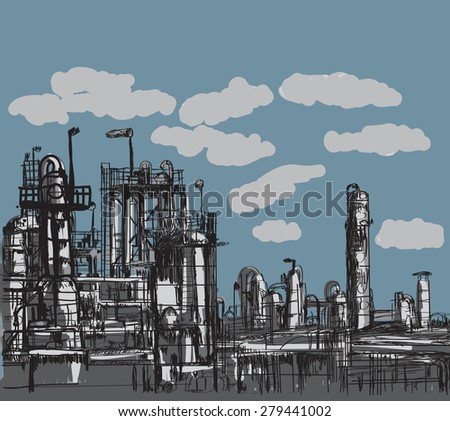 Factory paint vintage style illustration - stock vector