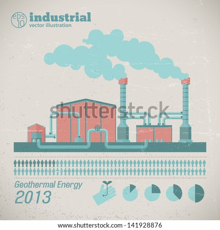 Factory pipes with smoke. Vector Illustration, eps10, contains transparencies. - stock vector