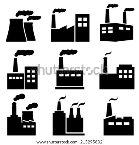 Factory, power plant, nuclear plant industrial icons - stock vector
