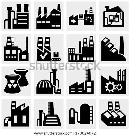 Factory, power plants, industrial buildings and pollution vector icon set on gray  - stock vector