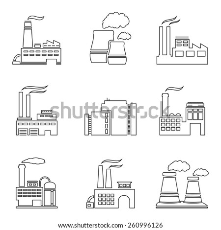 Factory thin line icons - stock vector