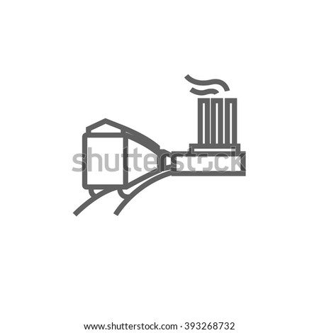 Factory with railway line icon. - stock vector