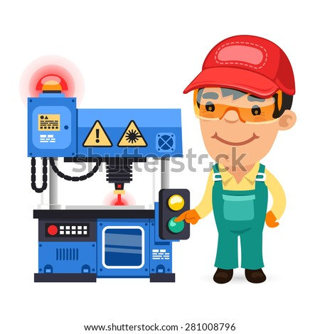 Factory Worker is Working on Laser Plotter. Isolated on white background. - stock vector