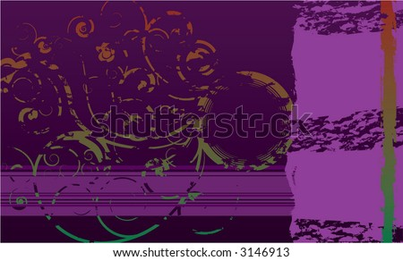 faded and cracked floral background - stock vector
