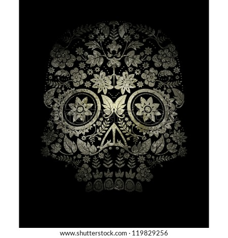 faded day of the dead skull - stock vector