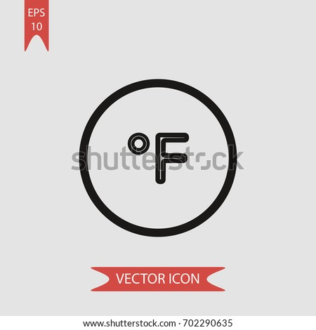 Fahrenheit Degree Circle Vector Icon Illustration Stock Vector