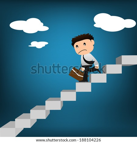 Fail businessman with briefcase walking downstairs - stock vector