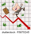 Failed Businessman Goes Down With The Statistics Arrow.Vector Illustration - stock photo